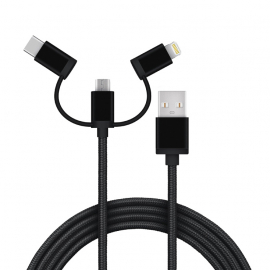 USB kabel, USB A-  Micro B+ USB-C + Apple (3u1),1m